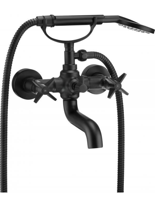 Настенный смеситель для ванны с душевым комплектом TemistoNero