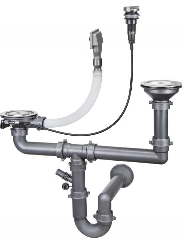 Сифон для стальных умывальников с 1,5 и 2 камерами