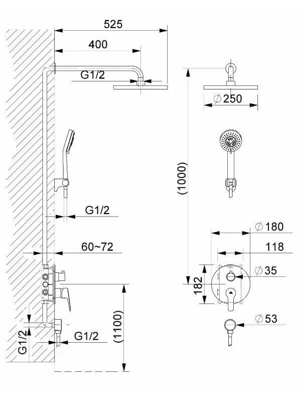 Комплектация Система скрытого монтажа KUBO-2F-UNO
