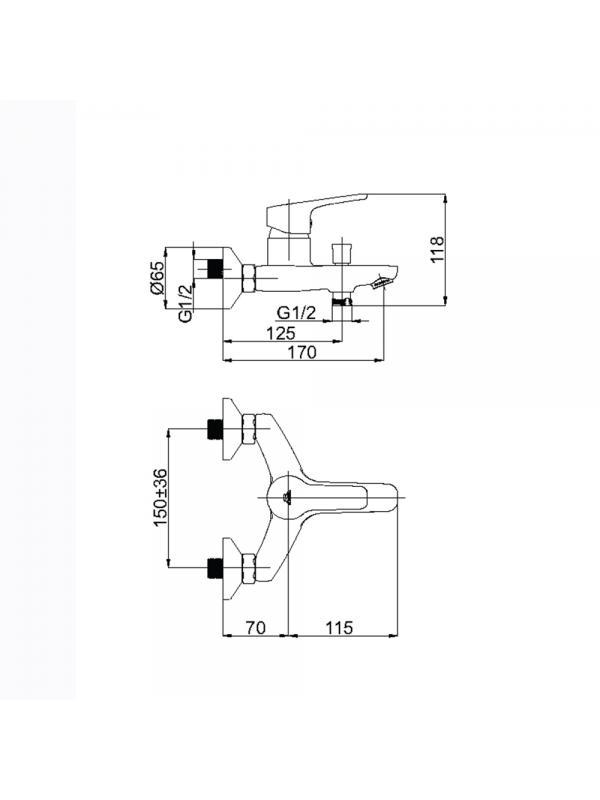 Смеситель для ванны UNO-10 (WT) (L)