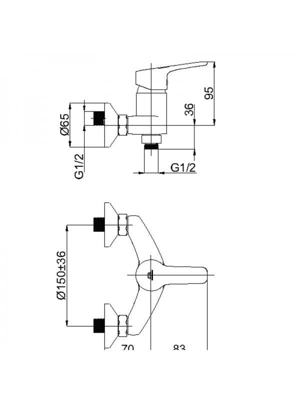 Смеситель душевой настенный UNO-12 (BK)