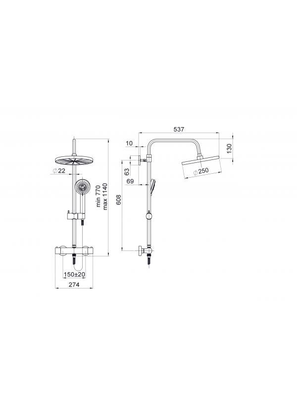 Комплектация Набор душевой колонны River+Thermo-15 (L)