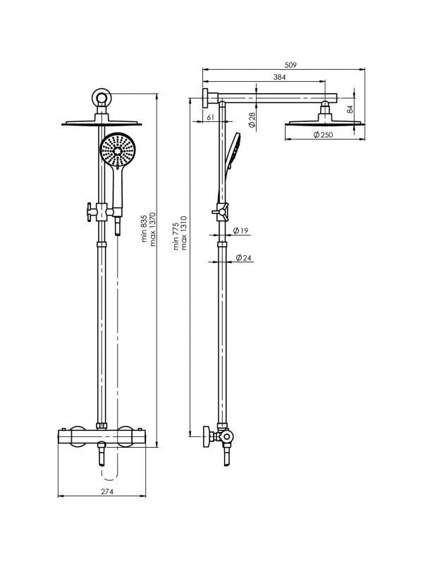 Комплектация Набор душевой колонны Etna+Thermo-15 (L)